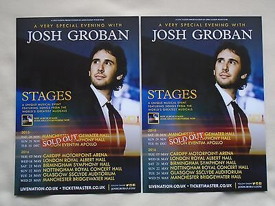 """JOSH GROBAN Live in Concert """"Stages"""" 2015/16 UK Tour Promo tour flyers x 2"""