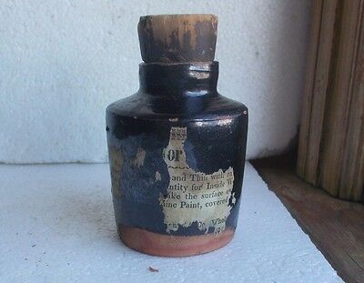 1840s EARLY REDWARE UTILITY BOTTLE W/PARTIAL LABEL & CORK STOPPER