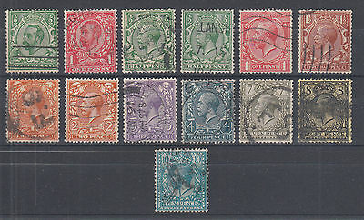 Great Britain Sc 151//171 used 1911-1913 KGV, watermarked Crown & GVR perf 15x14