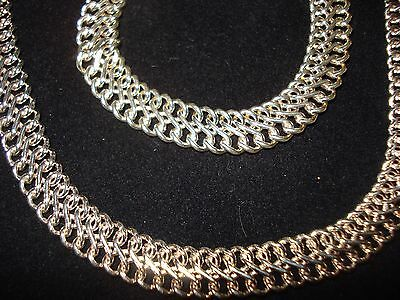 Vintage 925 Pure Sterling Silver Chain Necklace & Bracelet Set Made in Italy
