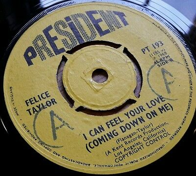 """FELICE TAYLOR I can feel your love UK 7"""" vinyl NM/VG+ Northern Soul 1968 Rare"""