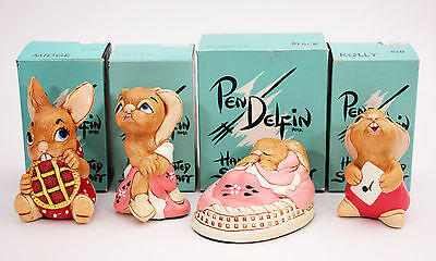 Vintage PENDELFIN LOT of 4 Red Midge Pink Totty Red Rolly Pink Poppet MIB