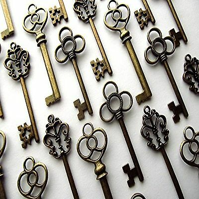Skeleton Keys Antique Lot Vintage Key Old Large Aokbean Mixed Set of 30 Bronze