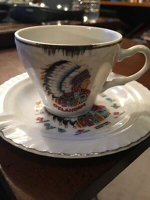Chief Oklahoma Cup Vintage Hand Painted Cup & Saucer Travel Souvenir