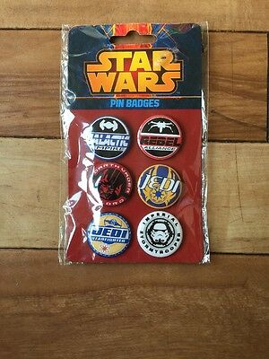 Star Wars - Set of 6 Pin Badges Brand New In Packaging By Paladone