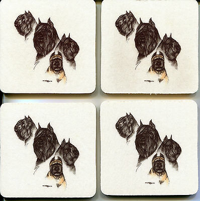 Set of four BOUVIER des FLANDRES coasters by Laura Rogers