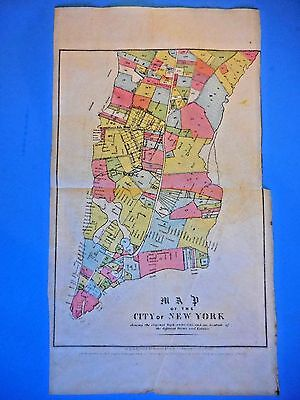 Original  Antique Old Farm Map New York City; -- Valentines History Of Nyc 1853