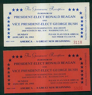 1981 Ronald Reagan/George Bush The Governors' Reception Tickets