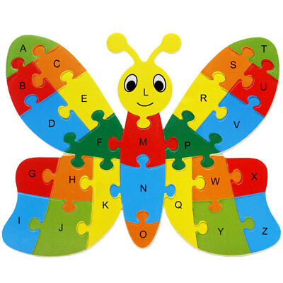 Kids Baby Wooden Butterfly Puzzle Alphabet Jigsaw Learning Educational Toy