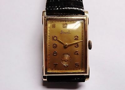 STABILO 14kt solid gold art deco rectangular vintage watch handwinder RARE