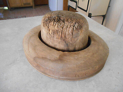 Vtg Mens Two Piece Wood Hat Form Block Mold Millinary Steampunk Industrial
