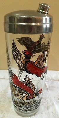 Vintage 50's Hazel Atlas Glass Cocktail Shaker Red Pheasants Gold Accents VGC