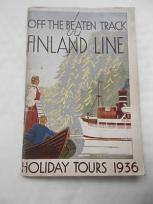 The Finland Line Holiday Tours 1936-  80 paged Book -Contains Fold Aways