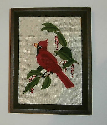 Cardinal in a Tree Finished & Framed Crewel Embroidery Wtg Jiffy Sunset #477