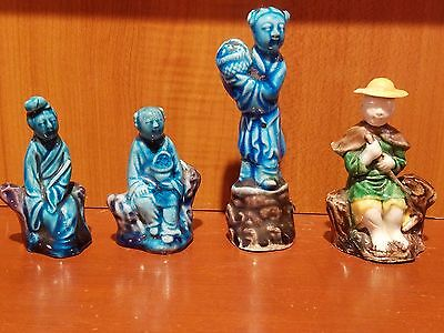 Antique Chinese Porcelain Figurines (4). 3 are aubergine and 1 is mixed glazed