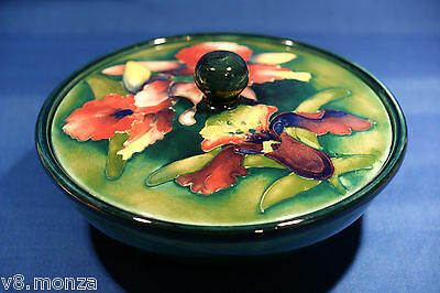 Gorgeous Vibrant Orchid Pattern Mixed Green & Blue Moorcroft Lidded Bowl Flowers