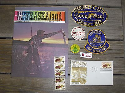 Vintage Nebraska Centennial Lot - Patches Pins/Coins  Magazine  Stamps  FirstDay