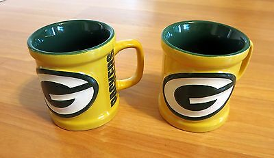 Green Bay Packers Coffee Mugs (2) NFL Authentic used