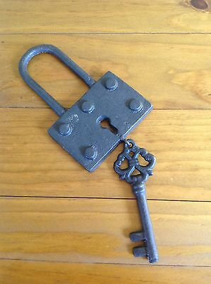 Padlock & Key Cast Iron French Antique Style Vintage Rustic Provincial Chic