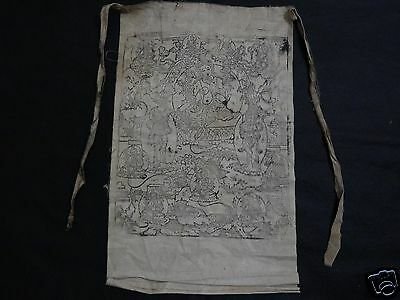 ANTIQUE  MONGOLIAN BUDDHIST WOODBLOCK PRINT of GREEN TARA ON COTTON