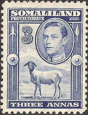 MH 1938 SOMALILAND Stamp  3 ANNA  British Empire Colony KING GEORGE VI. Sheep
