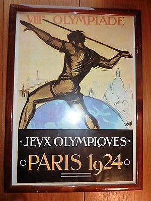 1924 Olympic Games Framed Poster Iconic Image 1970's