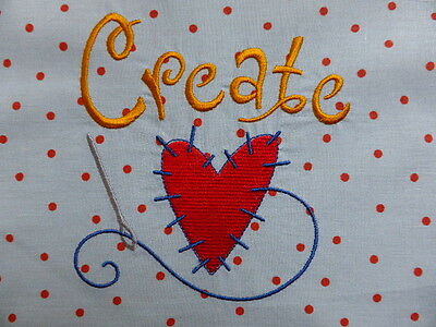 'Create' Embroidered Quilt Block/Panel