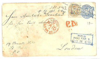 AB5 1866 German States PRUSSIA Berlin Uprated Postal Stationery Cover GB London