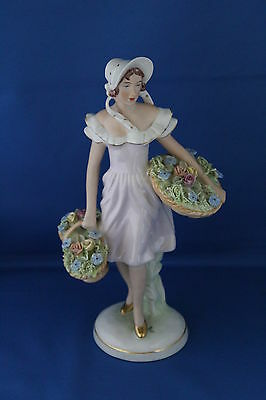An Art Deco Large Royal Dux Figure Of A Flower Seller Date Mark 1919-1939