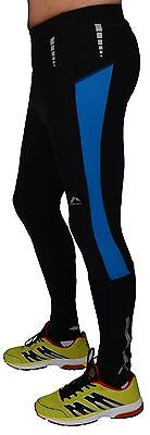 More Mile Montreal Mens Thermal Running Tights Black/Blue or Black/Red