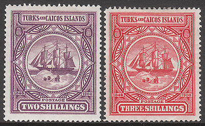 TURKS & CAICOS ISLANDS 1900 #108 #109 MINT VICTORIA SHIP BADGE STAMPS top 2