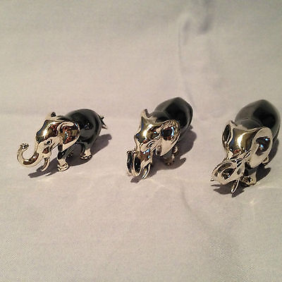 3 Sterling Silver Elephants Family Father, Mother and Child Saturno Italy 925