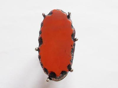 Vintage 1980's Burgundy Red Lucite Silver Tone Chunky Statement Cocktail Ring