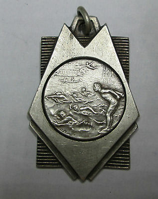 sport medal art deco swimming signed