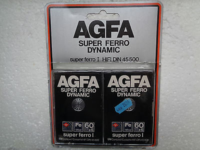 2-Pack Vintage Audio Cassette AGFA Super Ferro 60+6 * Rare From 1979 *