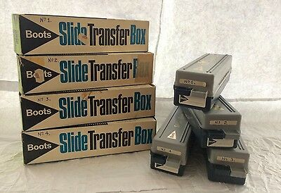 4 Vintage Boots Slide Transfer Boxes 36 Slides Each With Lids, In Original Boxes