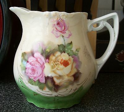 Hand-painted Antique EMBOSSED PORCELAIN PITCHER Yellow & Green ROSES Germany