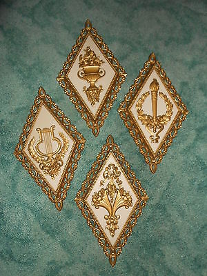 Set of 4 HOMCO Hollywood Regency 1971 Diamond Shaped Wall Plaques