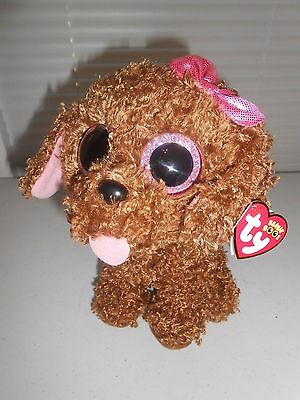 """TY Brown puppy dog plush stuffed MADDIE curly fur tounge out big eyes 9"""" sparkle"""