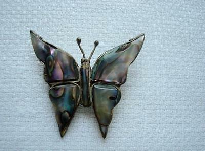 Vintage Mexican Sterling Silver Abalone Shell Butterfly Pin Brooch