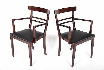 2 Antique Desk Chairs French Pair Elbow Chairs Armchair Carver Mahogany Vintage