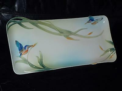 """Franz Iridescence Porcelain KINGFISHER Sculpted 17"""" SANDWICH TRAY  FZ01619 Boxed"""
