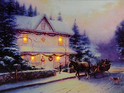 Christmas Decoration Light Up LED Canvas Wall Picture - House And Horse Sleigh