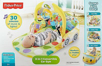 Fisher Price 3 in 1 Musical Convertible Car Themed Baby Activity Gym Toy NIB NEW