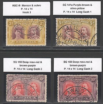 RHODESIA 1910 DOUBLE HEAD GROUP TO 10d (4 x STAMPS)   CTO  CANCELS -   ODD FAULT