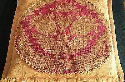 French antique hd made needlepoint 1850's pillow envelop appliqued on damask