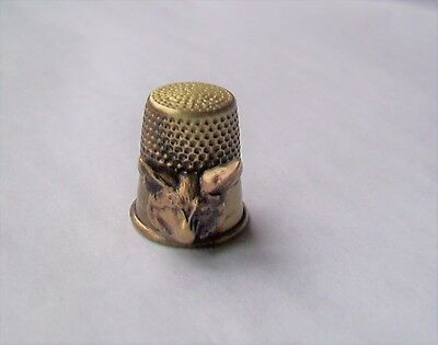 Brass Thimble With Fox Head Animal Design Affixed