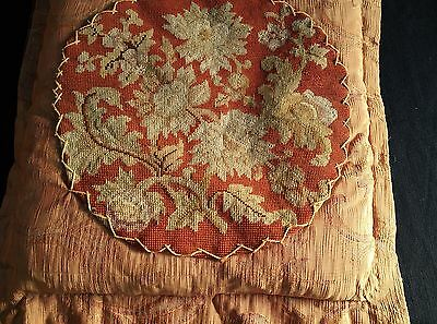 French antique hd made floral round needlepoint 1850's pillow envelop on damask