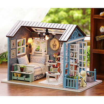 DIY Doll House LED Music Lights Furniture Kits Mini Wooden Dollhouse Happy Times