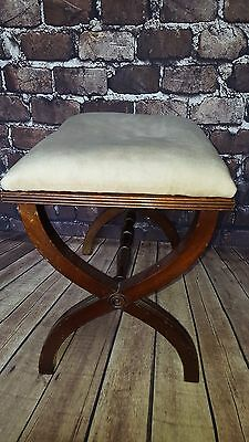 Antique Wooden X Frame Foot Stool Seat Victorian style